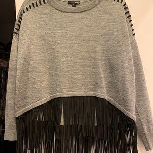 Aqua sweater w faux suede fringe